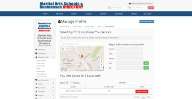 Add Service Areas to your Listing on the Martial Arts Schools and Businesses Directory
